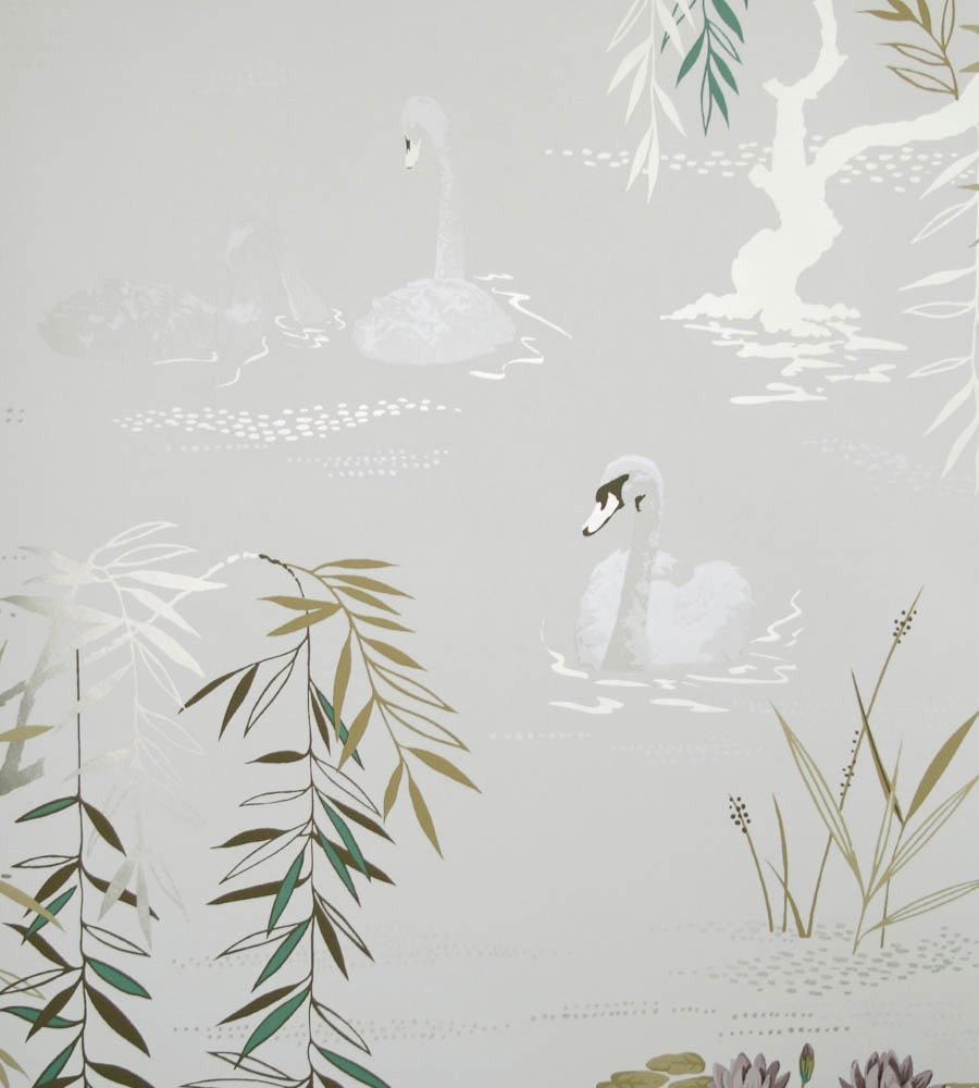 Tienda online telas papel papel pintado cisnes gris plata for Papel pintado color plata