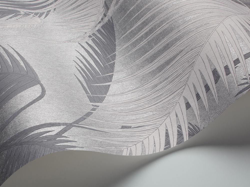 Tienda online telas papel papel pintado palmeras selva - Papel pintado gris y plata ...