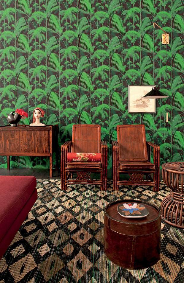 Tienda online telas papel papel pintado palmeras selva carbon - Catalogo papel paredes ...