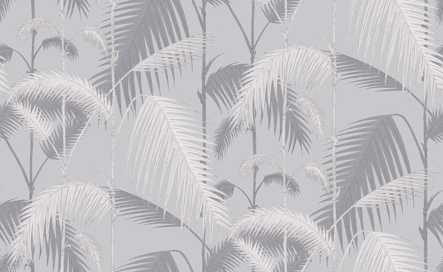 Tienda online telas papel papel pintado palmeras selva - Papel pintado plateado ...