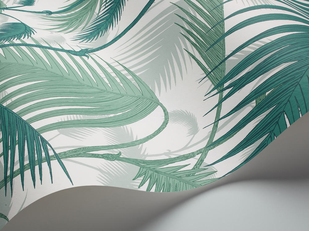 Tienda online telas papel papel pintado palmeras selva for Rollo papel pintado
