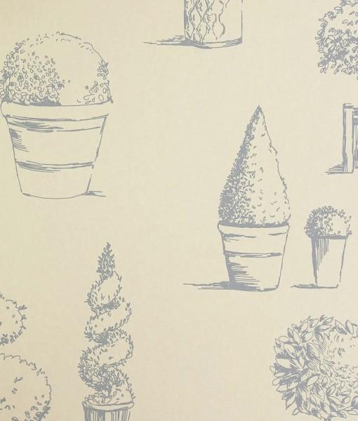 Tienda online telas papel papel pintado arbustos azul for Papeles pintados ingleses