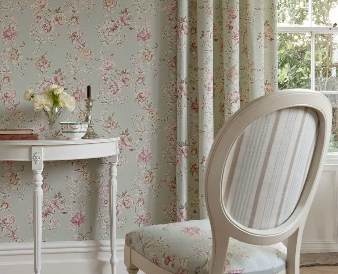Tienda online telas papel papel pintado flores clarisse azul verdoso - Maison decor papeles pintados ...
