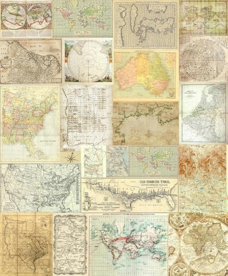 Tienda online telas papel crea un espacio viajero con - Papel pintado mapamundi ...