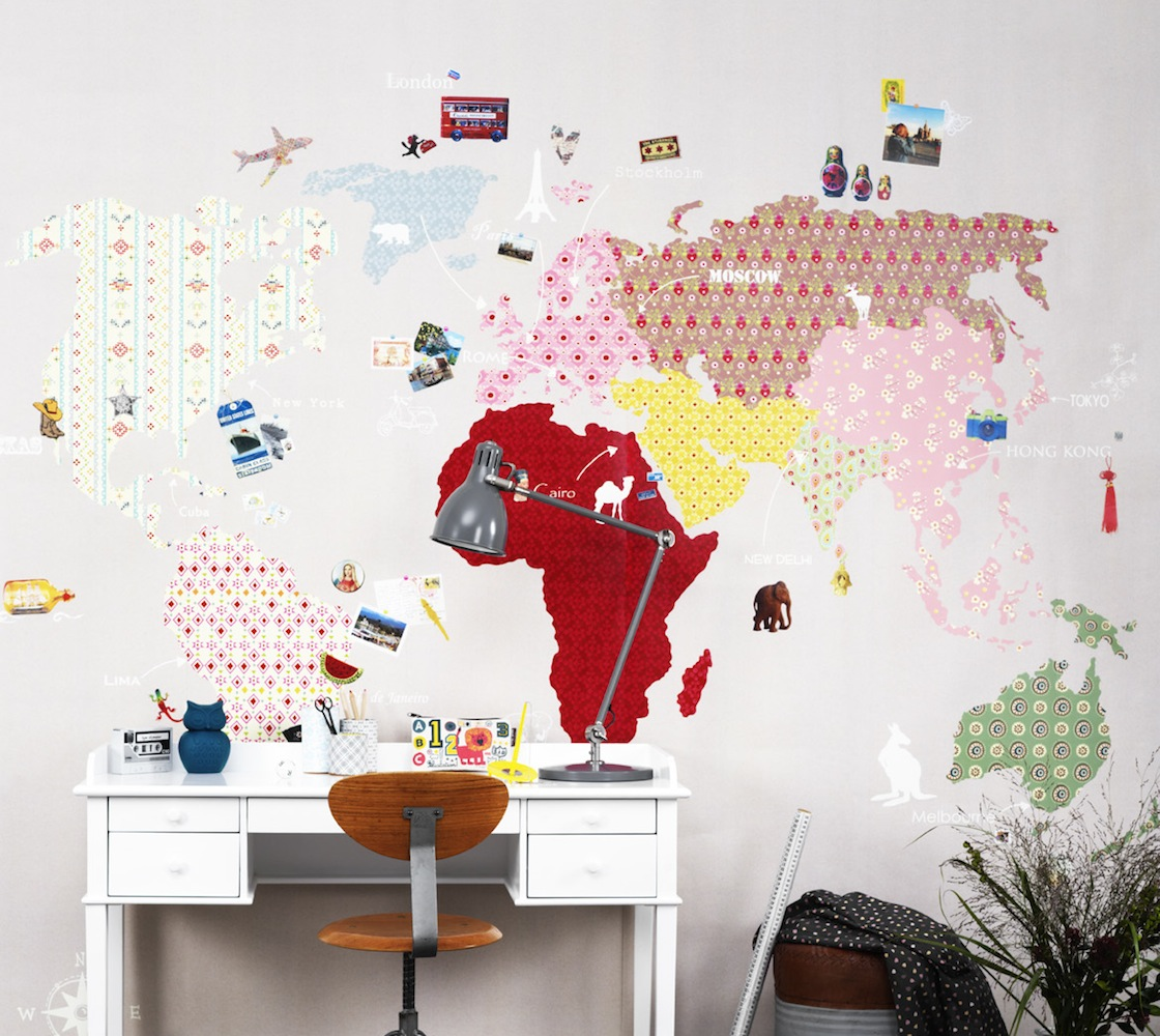 Tienda online telas papel un mapa de papel pintado en - Papel para la pared ...