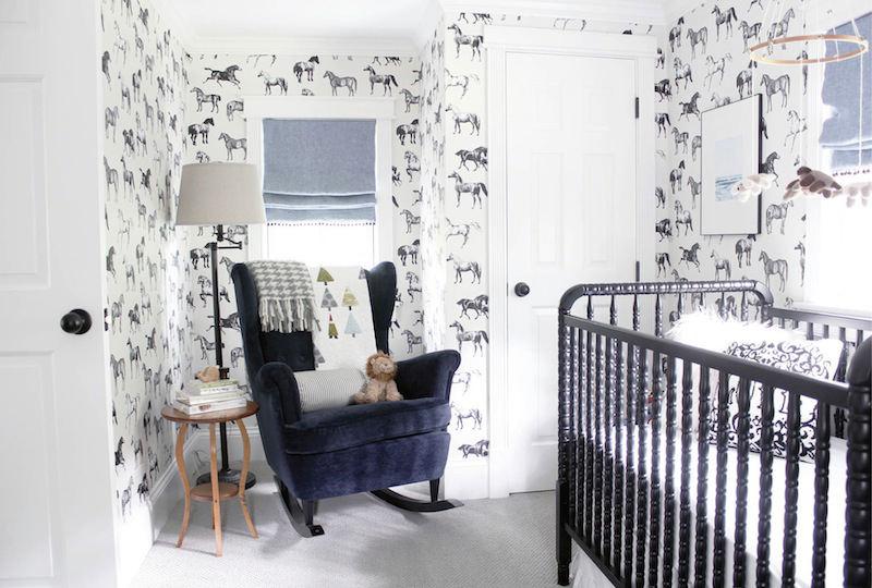 Tienda online telas papel papel de caballos en un for Papel pintado habitacion bebe