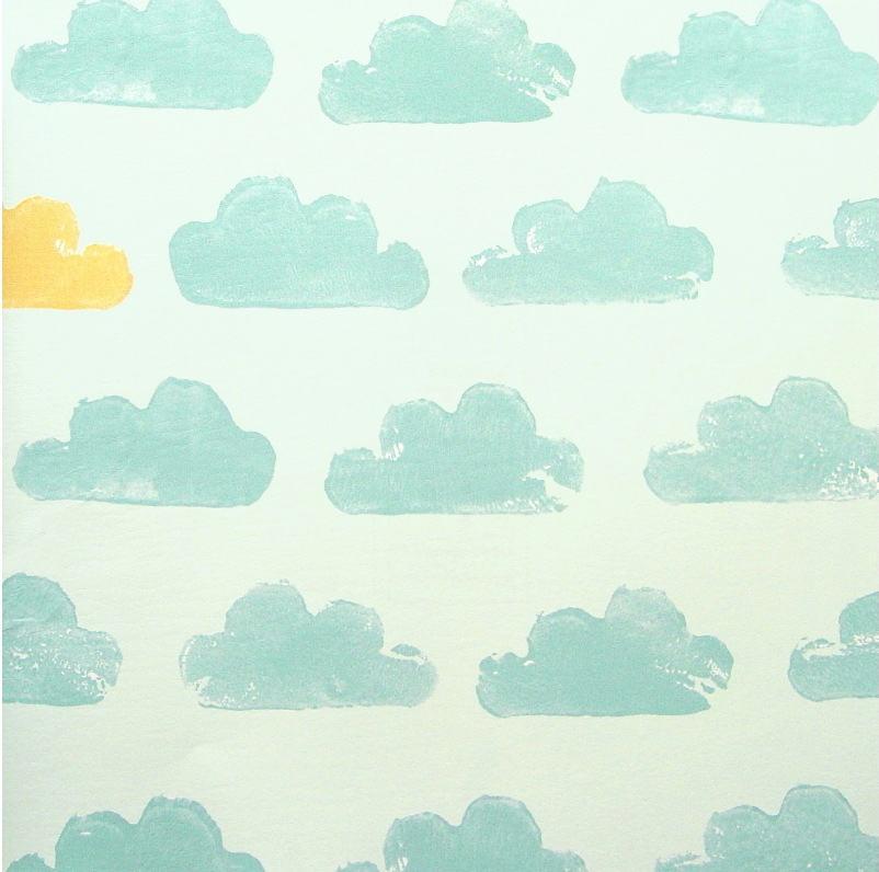 Tienda online telas papel papel infantil con nubes for Papel pintado tonos verdes
