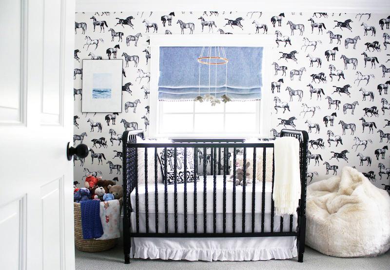 Tienda online telas papel papel de caballos en un cuarto de bebe blanco y negro - Papel pintado para habitacion de bebe ...