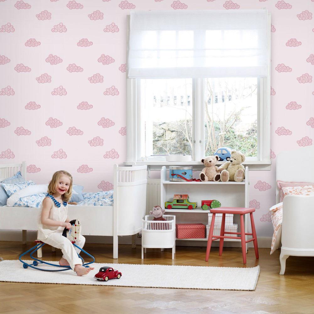 Tienda online telas papel papel pintado nubes rosas - Papel pintado pared ...