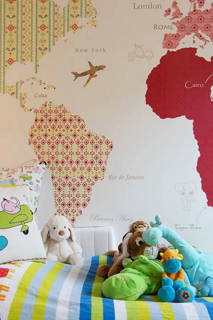 Un mapa de papel pintado en la pared telas papel - Papel pintado mapa ...
