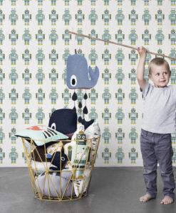 papel-infantil-robots-azul