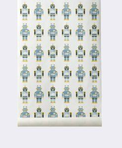 papel-infantil-robots-azul-verdoso