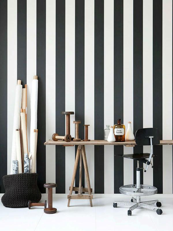 Tienda online telas papel papel rayas v rtigo blanco y for Papel pintado rayas negras y blancas