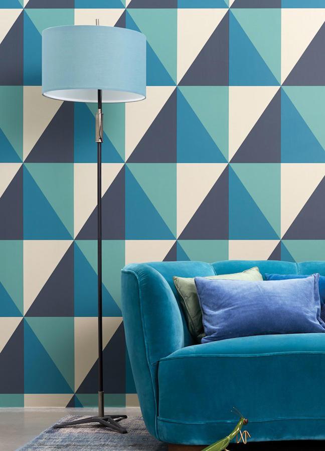 Tienda online telas papel grandes triangulos apex turquesa - Azul turquesa pared ...