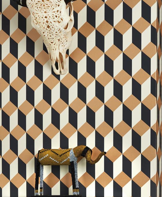 Tienda online telas papel cubos art deco color cobre for Papel pintado art deco