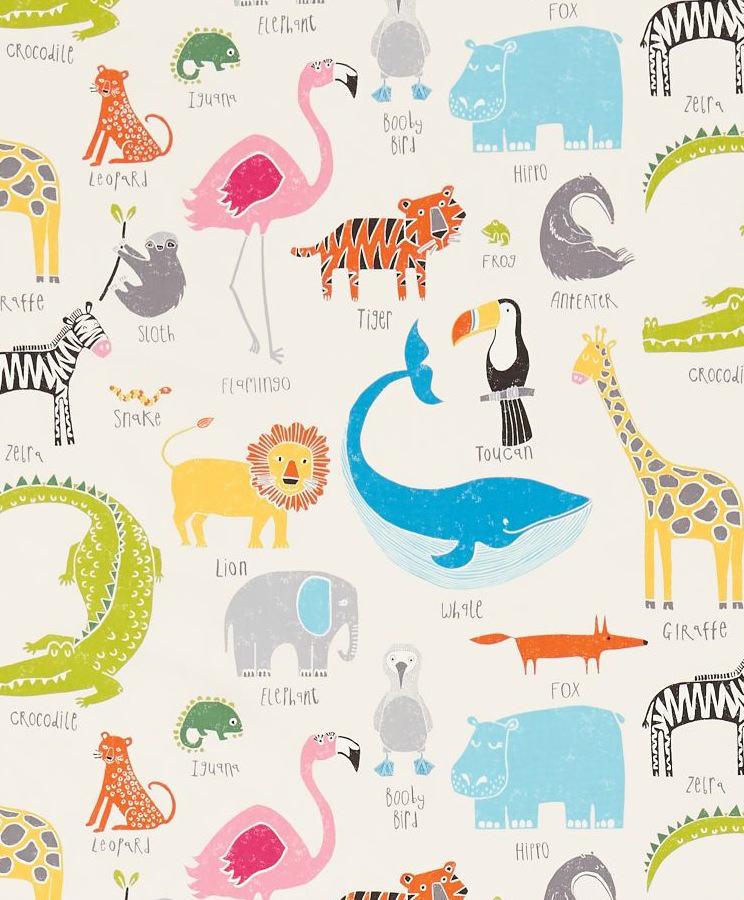 Tienda online telas papel tela con animales m gicos y - Telas infantiles online ...