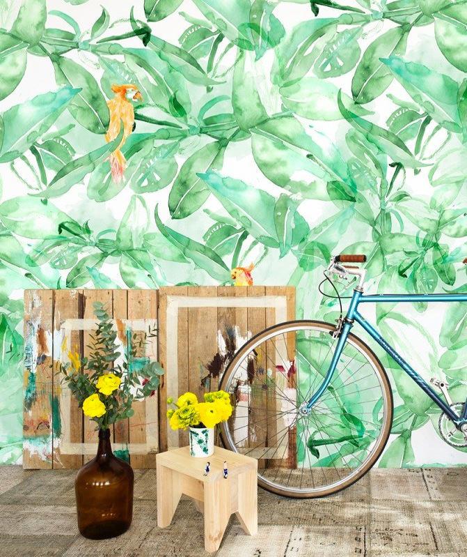 Tienda online telas papel mural find parrots for Papel pintado mural