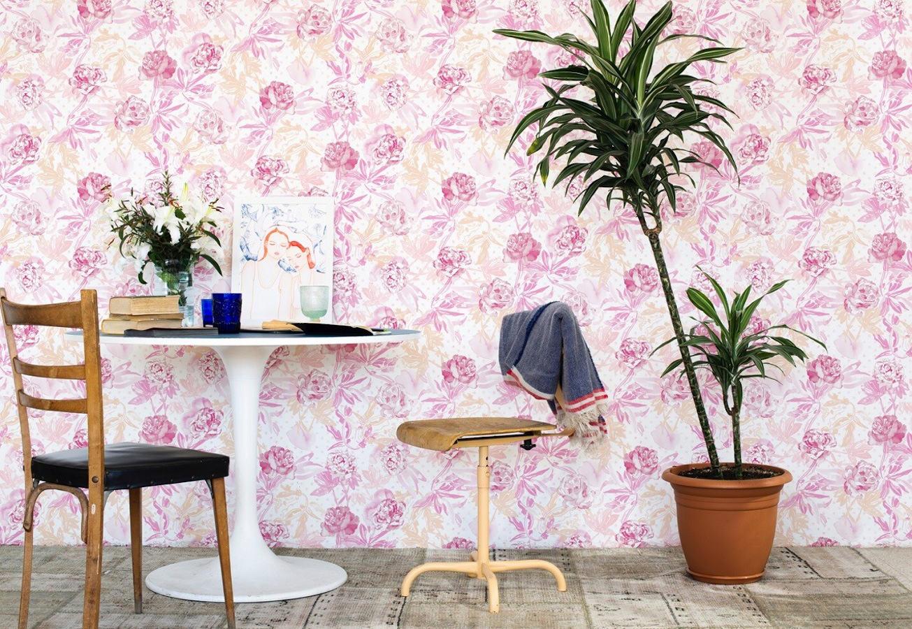 Tienda online telas papel papel pintado roses color rosa for Papel pared comedor