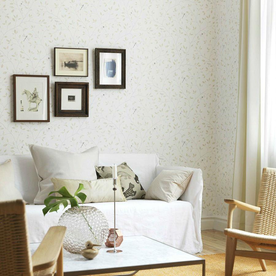 Tienda online telas papel papel pared flores felipe beige - Papel pared online ...
