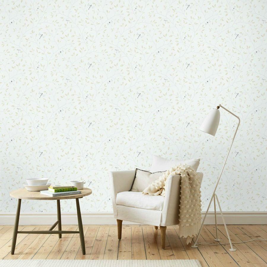 Tienda online telas papel papel pared flores felipe beige - Papel pared lavable ...