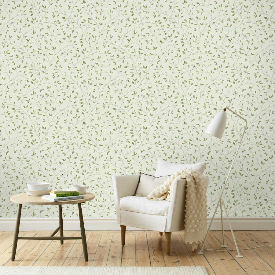 Tienda online telas papel papel pared flores felipe verde for Precio papel pared