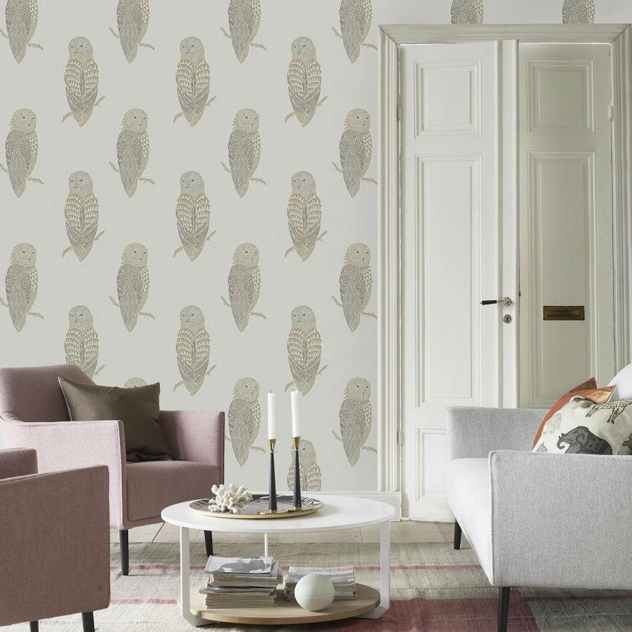 Tienda online telas papel papel pared lechuzas gris - Papel pared gris ...