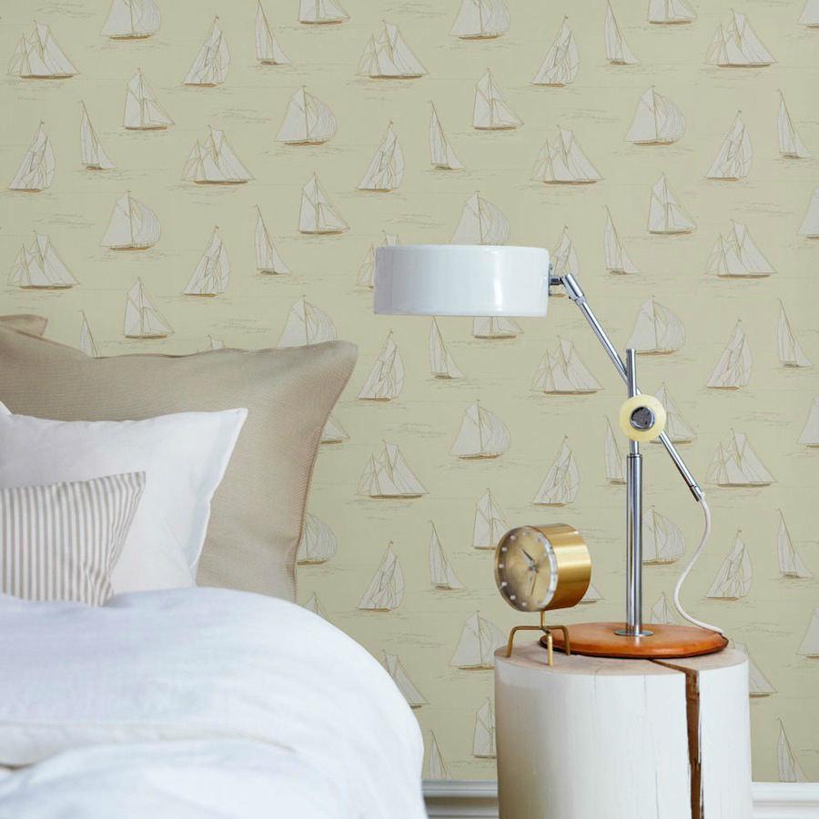Tienda online telas papel papel pared veleros beige - Papel pared lavable ...
