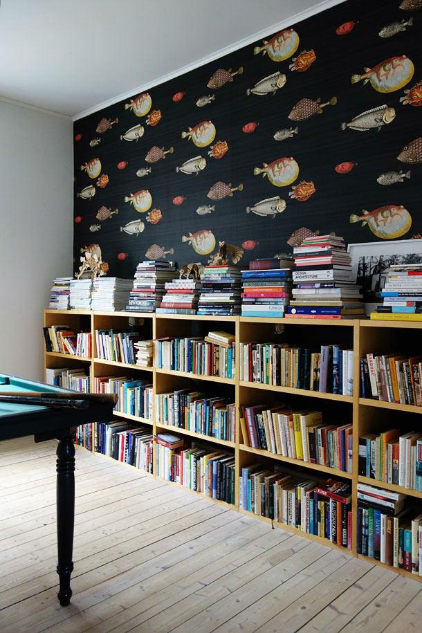 Tienda online telas papel llena las paredes con peces for Papel pintado para oficinas