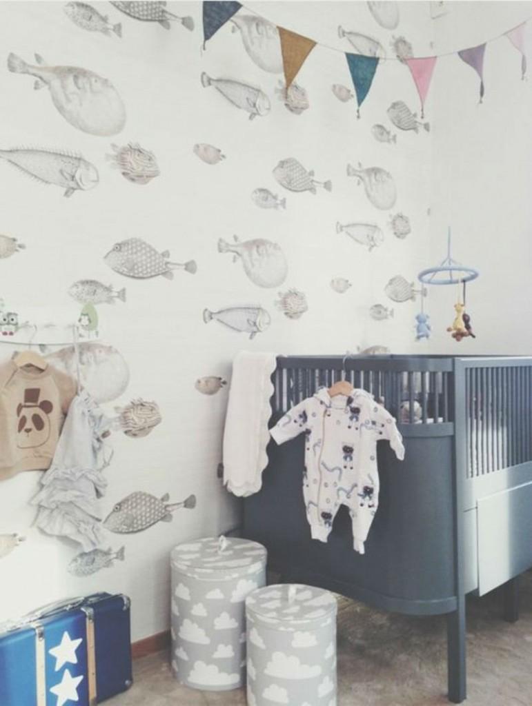 Tienda online telas papel llena las paredes con peces - Papel pintado adhesivo pared ...