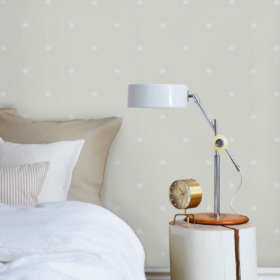 Tienda online telas papel papel pintado estrellas y cuadros gris - Papel pintado gris ...