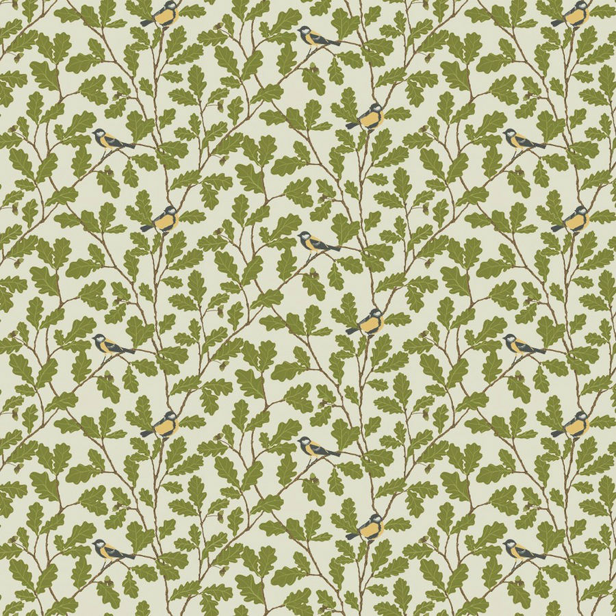 Tienda online telas papel papel pintado hojas roble verde - Papel pintado verde ...