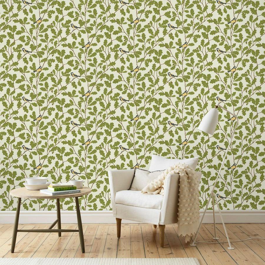 Tienda online telas papel papel pintado hojas roble verde for Papel pintado hojas verdes