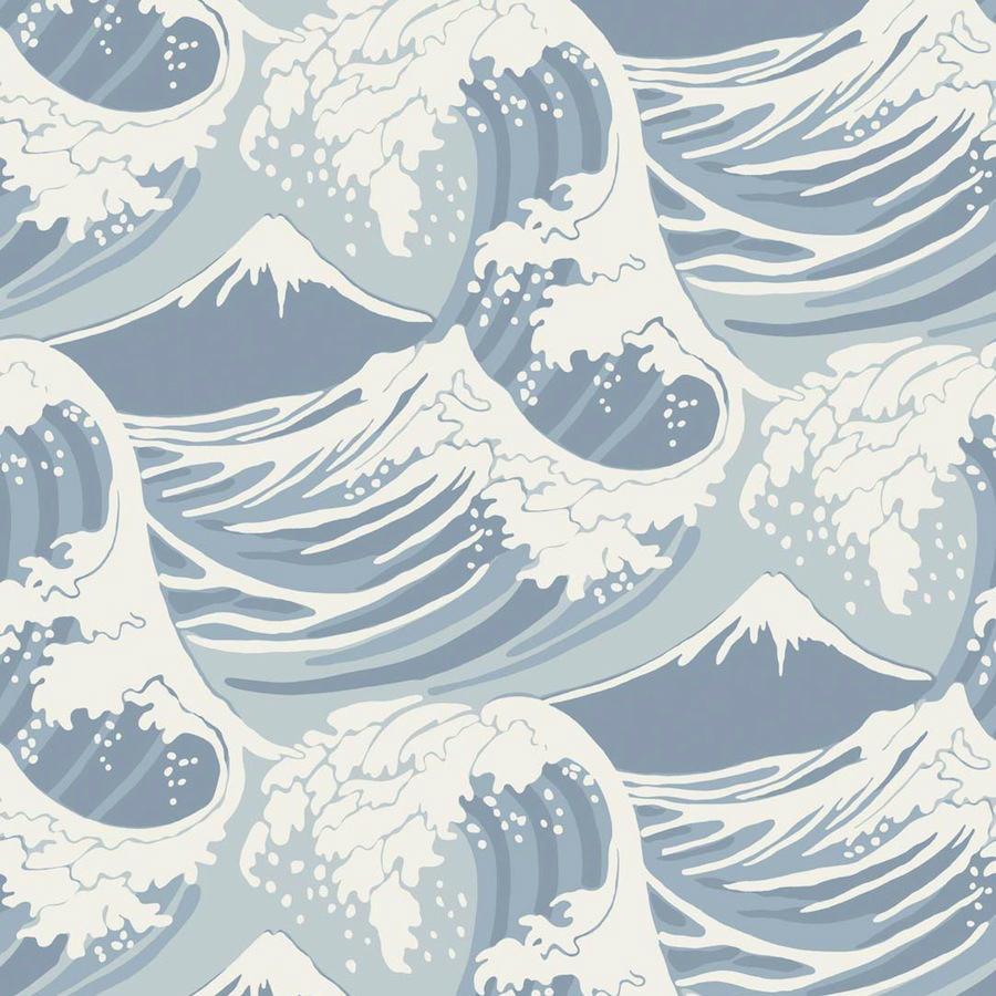 Tienda online telas papel papel pared grandes olas azul for Papel pintado azul