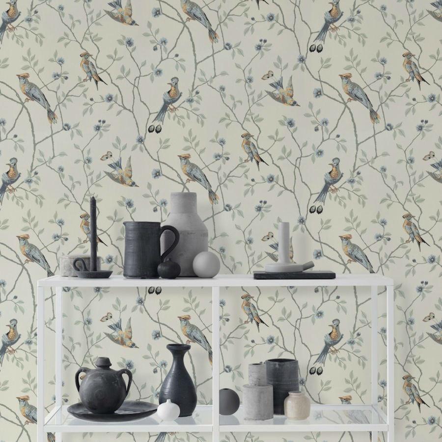 Tienda online telas papel papel pintado p jaros - Papel pintado online ...