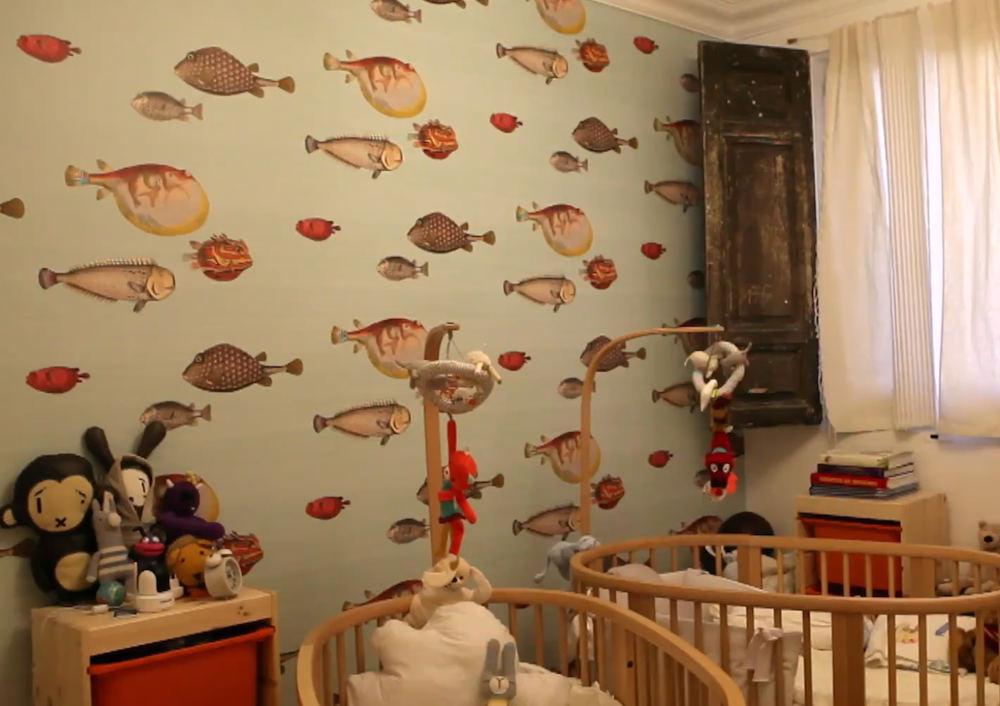 Tienda online telas papel llena las paredes con peces - Papel pintado habitaciones ...