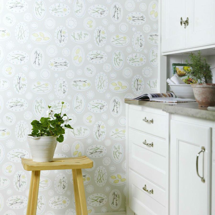 Tienda online telas papel papel pintado platos cocina gris - Papel pintado lavable ...