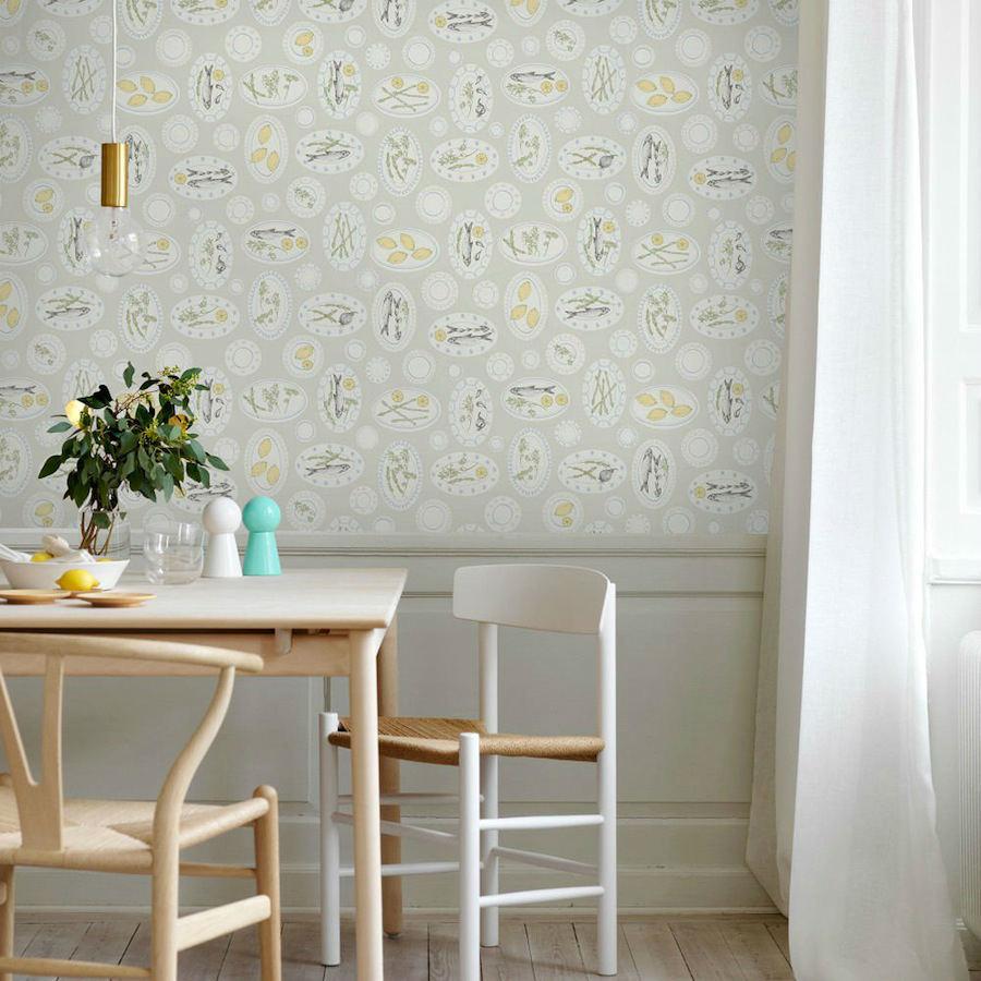 Tienda online telas papel papel pintado platos cocina gris - Papeles para decorar ...
