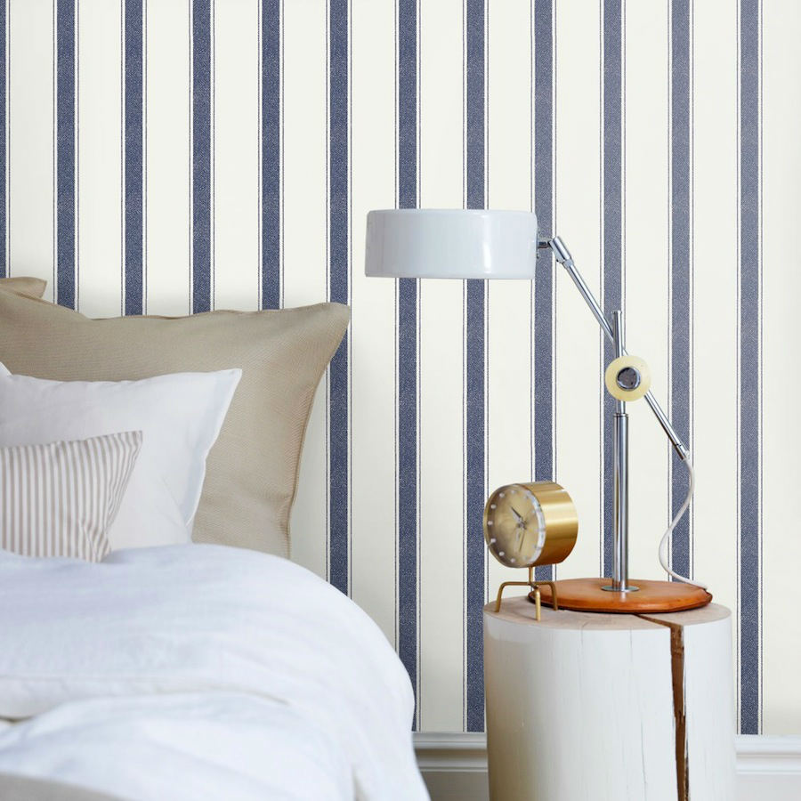 Tienda online telas papel papel pintado rayas elena for Papel pintado azul