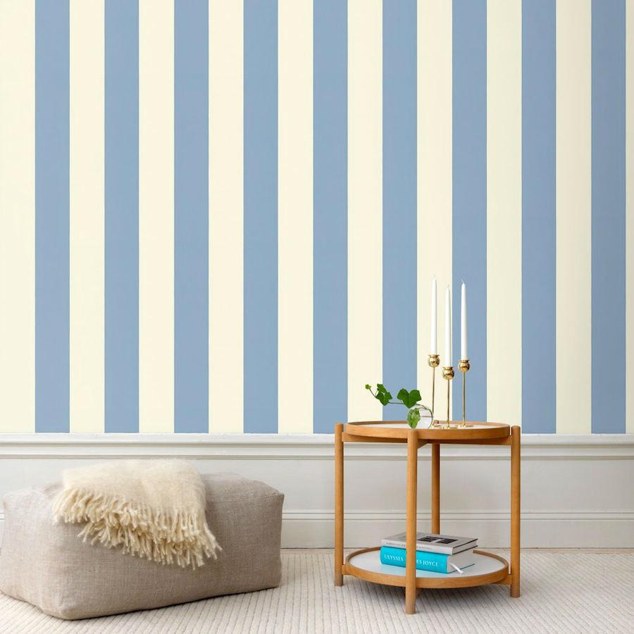 Tienda online telas papel papel pintado rayas magnus azul for Papel pintado azul