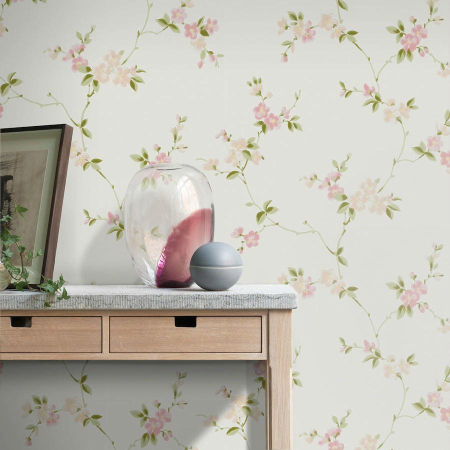 Tienda online telas papel papel pintado trepadoras kim rosa clarito - Papel pintado rosa ...