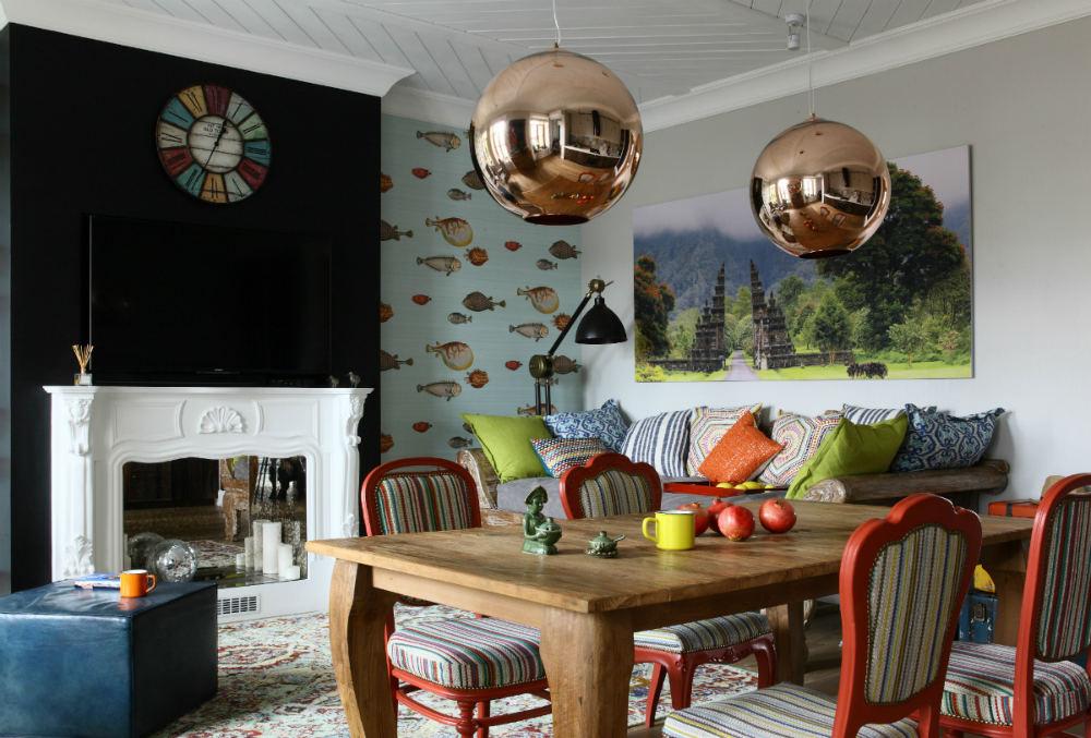 Tienda online telas papel llena las paredes con peces for Papel pintado salon marron