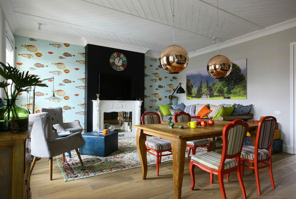 Tienda online telas papel llena las paredes con peces - Combinar papel y pintura ...