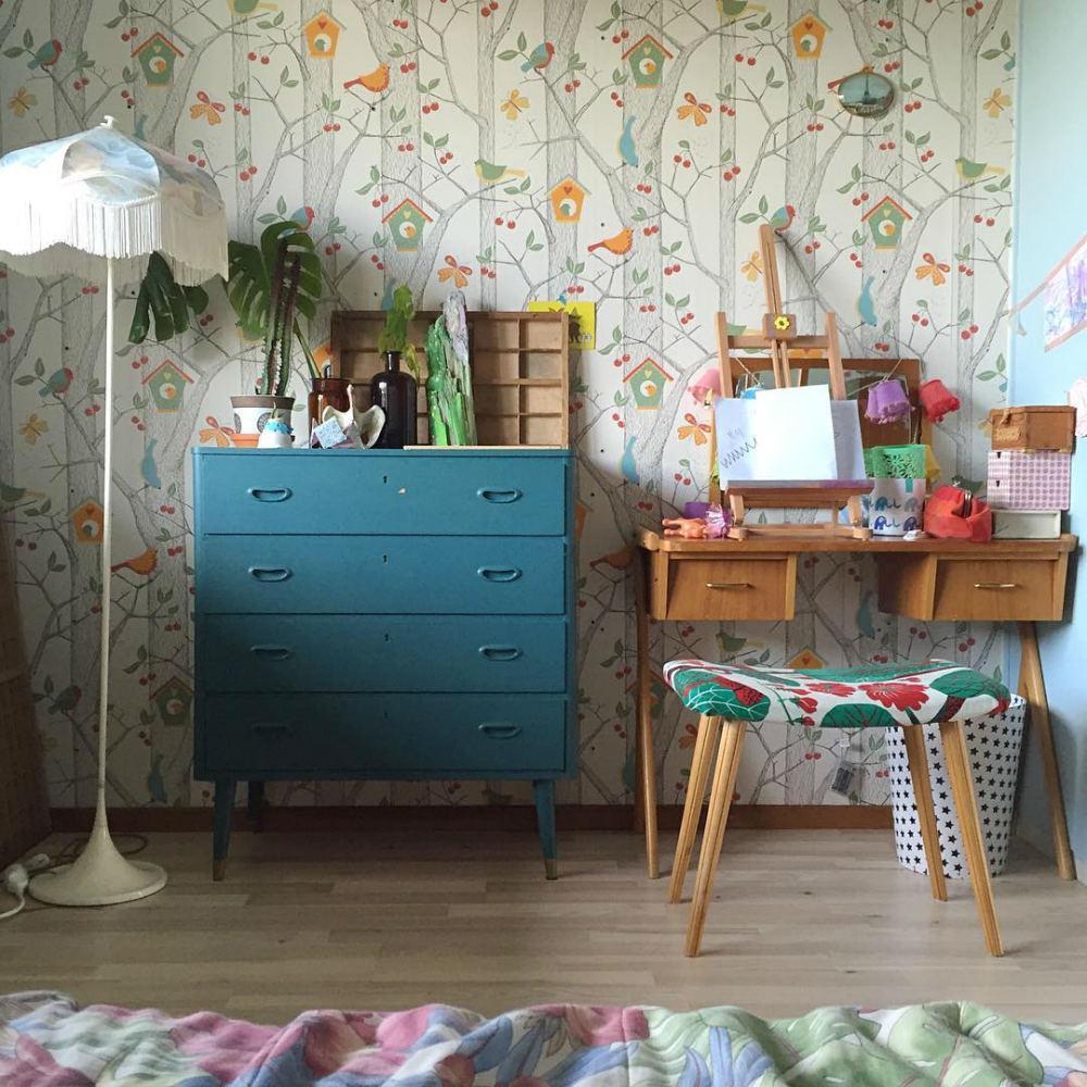 Tienda online telas papel papel pintado para una for Dormitorio infantil bosque