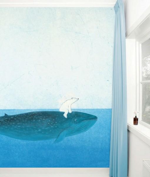 Tienda online telas papel mural papel infantil ballena for Papel pintado mural