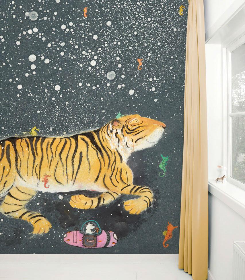 Tienda online telas papel mural papel tigre sonriente for Papel pintado mural