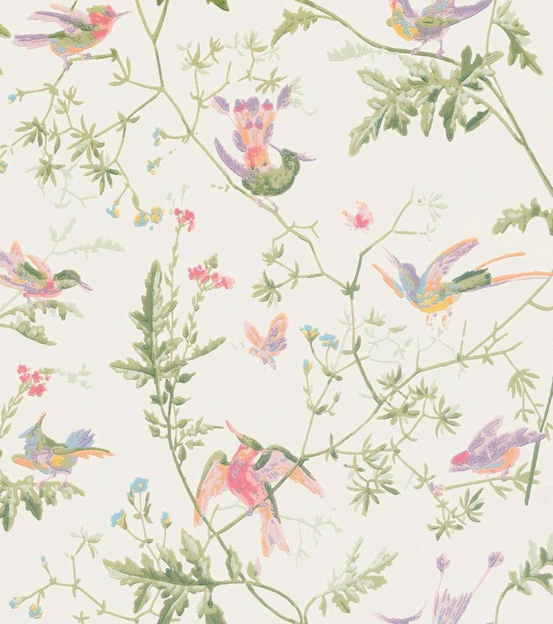 Tienda online telas papel papel pintado colibris clarito for Papel pintado estampado