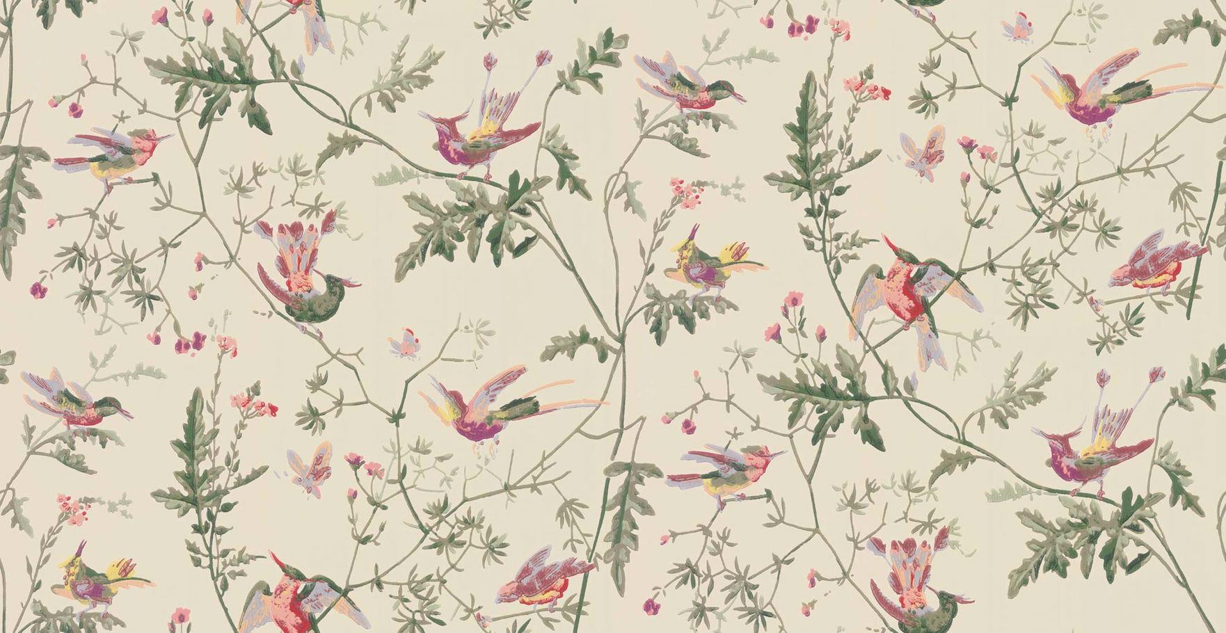Tienda online telas papel papel pintado colibris beige - Papel pintado online ...