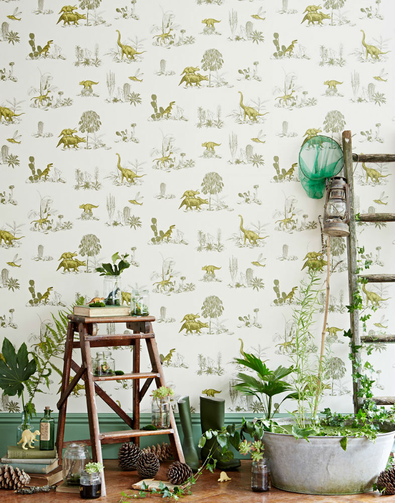 Tienda online telas papel papel pintado dinosaurios verdes - Paperboy dinosaur wallpaper ...