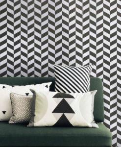 Tienda online telas papel papel pintado geom trico for Papel pintado blanco y negro