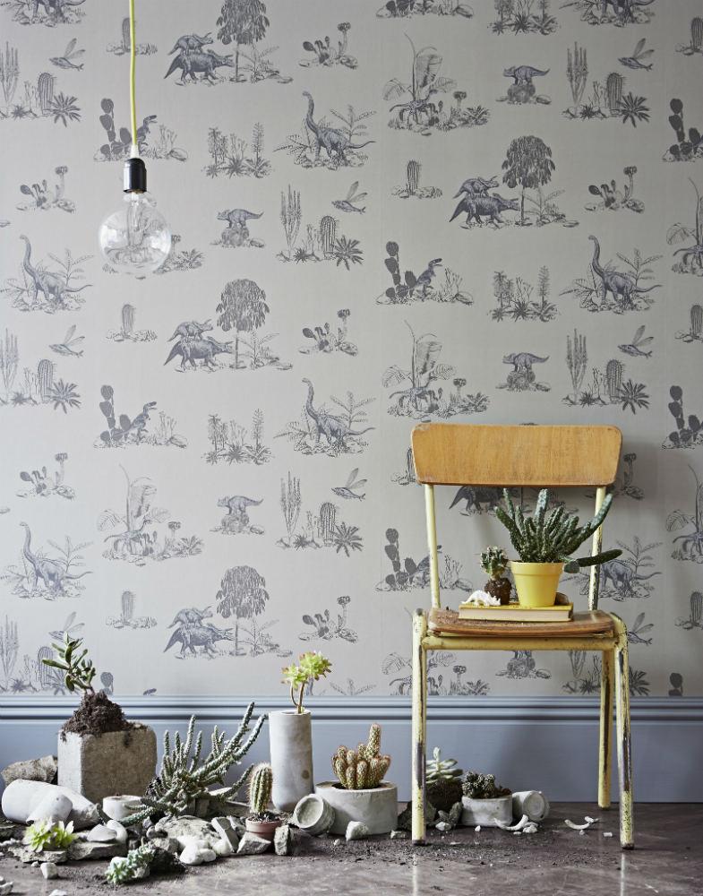 Tienda online telas papel papel pintado dinosaurios grises - Papel para empapelar paredes ...